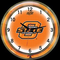 "Oklahoma St 18"" DOUBLE Neon Clock – Guaranteed bright and brilliant neon color! Quality neon clocks and neon wall clocks for less. Full 1-5 year no hassle warranty."
