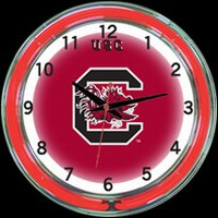 "S Carolina 18"" DOUBLE Neon Clock – Guaranteed bright and brilliant neon color! Quality neon clocks and neon wall clocks for less. Full 1-5 year no hassle warranty."