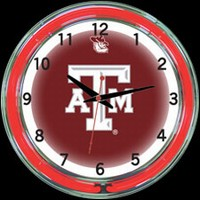 "Texas A&M 18"" DOUBLE Neon Clock – Guaranteed bright and brilliant neon color! Quality neon clocks and neon wall clocks for less. Full 1-5 year no hassle warranty."