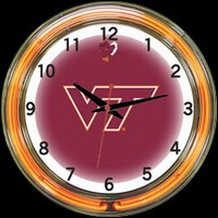 "Virginia Tech 18"" DOUBLE Neon Clock – Guaranteed bright and brilliant neon color! Quality neon clocks and neon wall clocks for less. Full 1-5 year no hassle warranty."