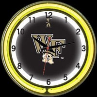 "Wake Forest 18"" DOUBLE Neon Clock – Guaranteed bright and brilliant neon color! Quality neon clocks and neon wall clocks for less. Full 1-5 year no hassle warranty."