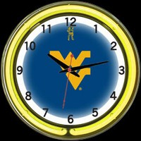 "West Virginia 18"" DOUBLE Neon Clock – Guaranteed bright and brilliant neon color! Quality neon clocks and neon wall clocks for less. Full 1-5 year no hassle warranty."