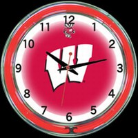 "Wisconsin 18"" DOUBLE Neon Clock – Guaranteed bright and brilliant neon color! Quality neon clocks and neon wall clocks for less. Full 1-5 year no hassle warranty."