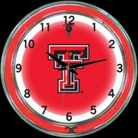 "Texas Tech 18"" DOUBLE Neon Clock – Guaranteed bright and brilliant neon color! Quality neon clocks and neon wall clocks for less. Full 1-5 year no hassle warranty."