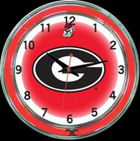 "Georgia 18"" DOUBLE Neon Clock – Guaranteed bright and brilliant neon color! Quality neon clocks and neon wall clocks for less. Full 1-5 year no hassle warranty."