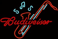Budweiser Saxophone Neon Beer Sign - Best prices and lighted open sign selection from iLoveNeon.com