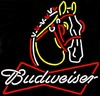 Budweiser Clydesdale � Guaranteed bright and brilliant neon bar signs! Our neon bar signs feature quality ½ diameter neon glass tubing and whisper quiet UL listed neon bar sign transformer. Full 1-5 year no hassle warranty.
