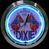 "Dixie Motor Oil Neon Clock 14.5"" – Guaranteed bright and brilliant neon color! Quality neon clocks and neon wall clocks for less. Full 1-5 year no hassle warranty."