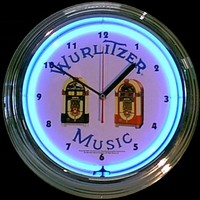 "Wurlitzer Jukebox Neon Clock 14.5"" – Guaranteed bright and brilliant neon color! Quality neon clocks and neon wall clocks for less. Full 1-5 year no hassle warranty."