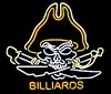 NEON Billiards Pirate � Guaranteed bright and brilliant neon bar signs! Our neon bar signs feature quality ½ diameter neon glass tubing and whisper quiet UL listed neon bar sign transformer. Full 1-5 year no hassle warranty.