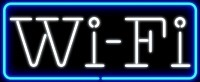 "NEON Wi-Fi XLG 35"" Sign White/Blue – Guaranteed bright and brilliant neon business signs! Our neon business signs feature quality ½ diameter neon glass tubing and whisper quiet UL listed neon business sign transformer. Full 1-5 year no hassle warranty."
