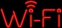 NEON Wi-Fi Sign - Red Signal – Guaranteed bright and brilliant neon business signs! Our neon business signs feature quality ½ diameter neon glass tubing and whisper quiet UL listed neon business sign transformer. Full 1-5 year no hassle warranty.