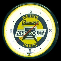 "Chevy Bowtie Neon Clock 20"" – Guaranteed bright and brilliant neon color! Quality neon clocks and neon wall clocks for less. Full 1-5 year no hassle warranty."