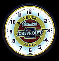 "Chevy Parts Neon Clock 20"" – Guaranteed bright and brilliant neon color! Quality neon clocks and neon wall clocks for less. Full 1-5 year no hassle warranty."