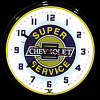 "Chevy Super Service Neon Clock 20"" – Guaranteed bright and brilliant neon color! Quality Americana neon wall clocks for less. Full 1-5 year no hassle warranty."