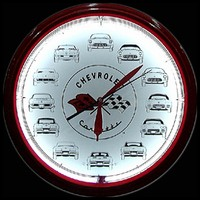 "Corvette Cars Neon Clock 20"" – Guaranteed bright and brilliant neon color! Quality neon clocks and neon wall clocks for less. Full 1-5 year no hassle warranty."