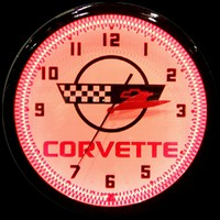 "Corvette Neon Clock 20"" – Guaranteed bright and brilliant neon color! Quality neon clocks and neon wall clocks for less. Full 1-5 year no hassle warranty."