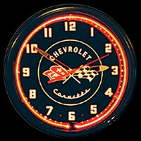 "Corvette Black Neon Clock 20"" – Guaranteed bright and brilliant neon color! Quality neon clocks and neon wall clocks for less. Full 1-5 year no hassle warranty."