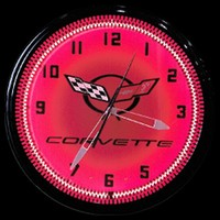 "Corvette Red Neon Clock 20"" – Guaranteed bright and brilliant neon color! Quality neon clocks and neon wall clocks for less. Full 1-5 year no hassle warranty."