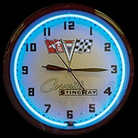 "Corvette Stingray Neon Clock 20"" – Guaranteed bright and brilliant neon color! Quality neon clocks and neon wall clocks for less. Full 1-5 year no hassle warranty."