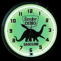 "Dino Sinclair Neon Clock 20"" – Guaranteed bright and brilliant neon color! Quality neon clocks and neon wall clocks for less. Full 1-5 year no hassle warranty."