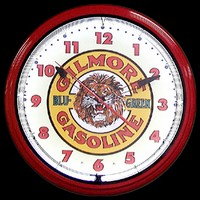 "Gilmore Gasoline Neon Clock 20"" – Guaranteed bright and brilliant neon color! Quality neon clocks and neon wall clocks for less. Full 1-5 year no hassle warranty."