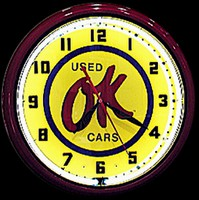"OK Used Cars Neon Clock 20"" – Guaranteed bright and brilliant neon color! Quality neon clocks and neon wall clocks for less. Full 1-5 year no hassle warranty."
