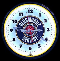"Oldsmobile Service Neon Clock 20"" – Guaranteed bright and brilliant neon color! Quality neon clocks and neon wall clocks for less. Full 1-5 year no hassle warranty."
