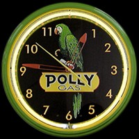 "Polly Gas Neon Clock 20"" – Guaranteed bright and brilliant neon color! Quality neon clocks and neon wall clocks for less. Full 1-5 year no hassle warranty."