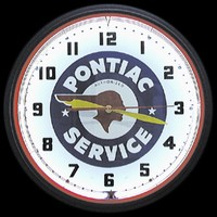 "Pontiac Service Neon Clock 20"" – Guaranteed bright and brilliant neon color! Quality neon clocks and neon wall clocks for less. Full 1-5 year no hassle warranty."