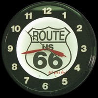 "Route 66 Neon Clock 20"" – Guaranteed bright and brilliant neon color! Quality neon clocks and neon wall clocks for less. Full 1-5 year no hassle warranty."