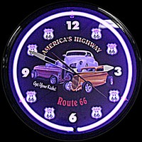"Route 66 Kicks Neon Clock 20"" – Guaranteed bright and brilliant neon color! Quality neon clocks and neon wall clocks for less. Full 1-5 year no hassle warranty."
