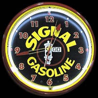 "Signal Gasoline Neon Clock 20"" – Guaranteed bright and brilliant neon color! Quality neon clocks and neon wall clocks for less. Full 1-5 year no hassle warranty."