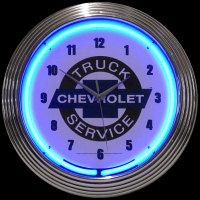 "Chevy Truck Service Clock 14.5"" – Guaranteed bright and brilliant neon color! Quality Americana neon wall clocks for less. Full 1-5 year no hassle warranty."
