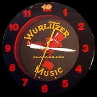 "Wurlitzer Music Neon Clock 20"" – Guaranteed bright and brilliant neon color! Quality neon clocks and neon wall clocks for less. Full 1-5 year no hassle warranty."