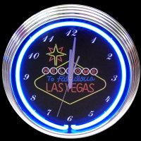 "Las Vegas Sign Neon Clock 15"" – Guaranteed bright and brilliant neon color! Quality neon clocks and neon wall clocks for less. Full 1-5 year no hassle warranty."