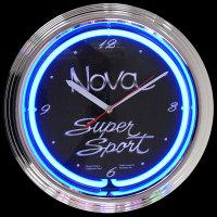 "GM Chevy Nova Neon Clock 15"" – Guaranteed bright and brilliant neon color! Quality neon clocks and neon wall clocks for less. Full 1-5 year no hassle warranty."