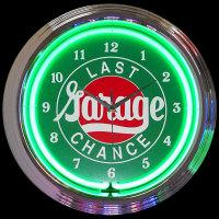 "Last Chance Garage Neon Clock 14.5"" – Guaranteed bright and brilliant neon color! Quality neon clocks and neon wall clocks for less. Full 1-5 year no hassle warranty."