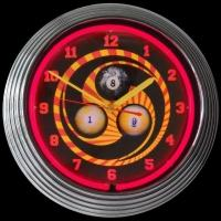 "Billiards 1, 8, 9 Neon Clock 14.5"" – Guaranteed bright and brilliant neon color! Quality neon clocks and neon wall clocks for less. Full 1-5 year no hassle warranty."