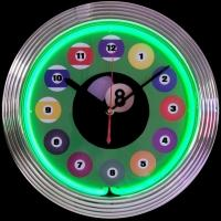 "Billiard Ball Neon Clock 14.5"" – Guaranteed bright and brilliant neon color! Quality neon clocks and neon wall clocks for less. Full 1-5 year no hassle warranty."