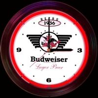 "Budweiser Retro Neon Clock 14.5"" – Guaranteed bright and brilliant neon color! Quality neon clocks and neon wall clocks for less. Full 1-5 year no hassle warranty."