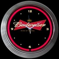 "Budweiser Bowtie Neon Clock 14.5"" – Guaranteed bright and brilliant neon color! Quality neon clocks and neon wall clocks for less. Full 1-5 year no hassle warranty."