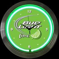 "Bud Light Lime Neon Clock 14.5"" – Guaranteed bright and brilliant neon color! Quality neon clocks and neon wall clocks for less. Full 1-5 year no hassle warranty."