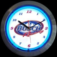 "Busch Racing Neon Clock 15"" – Guaranteed bright and brilliant neon color! Quality neon clocks and neon wall clocks for less. Full 1-5 year no hassle warranty."