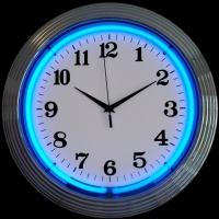"Chrome Blue Neon Clock 14.5"" – Guaranteed bright and brilliant neon color! Quality neon clocks and neon wall clocks for less. Full 1-5 year no hassle warranty."