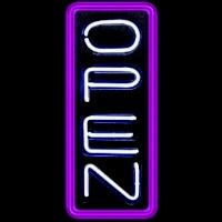 "24"" Neon Open Vertical White/Purple – Guaranteed bright and brilliant neon business signs! Our neon business signs feature quality ½ diameter neon glass tubing and whisper quiet UL listed neon business sign transformer. Full 1-5 year no hassle warranty."