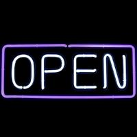 "24"" Neon Open Sign White/Purple"