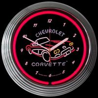 "Corvette Neon Clock 14.5"" – Guaranteed bright and brilliant neon color! Quality neon clocks and neon wall clocks for less. Full 1-5 year no hassle warranty."