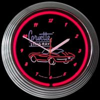 "Corvette Sting Ray Neon Clock 15"" – Guaranteed bright and brilliant neon color! Quality neon clocks and neon wall clocks for less. Full 1-5 year no hassle warranty."