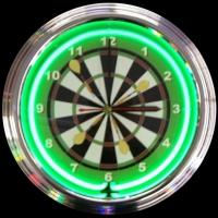 "Darts Neon Clock 14.5"" – Guaranteed bright and brilliant neon color! Quality neon clocks and neon wall clocks for less. Full 1-5 year no hassle warranty."